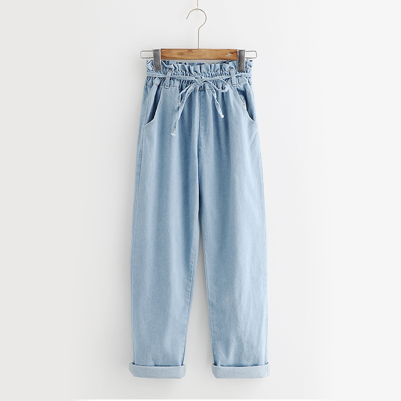 Modakawa Pants Blue / M Denim Pull-On Wide Leg Jeans
