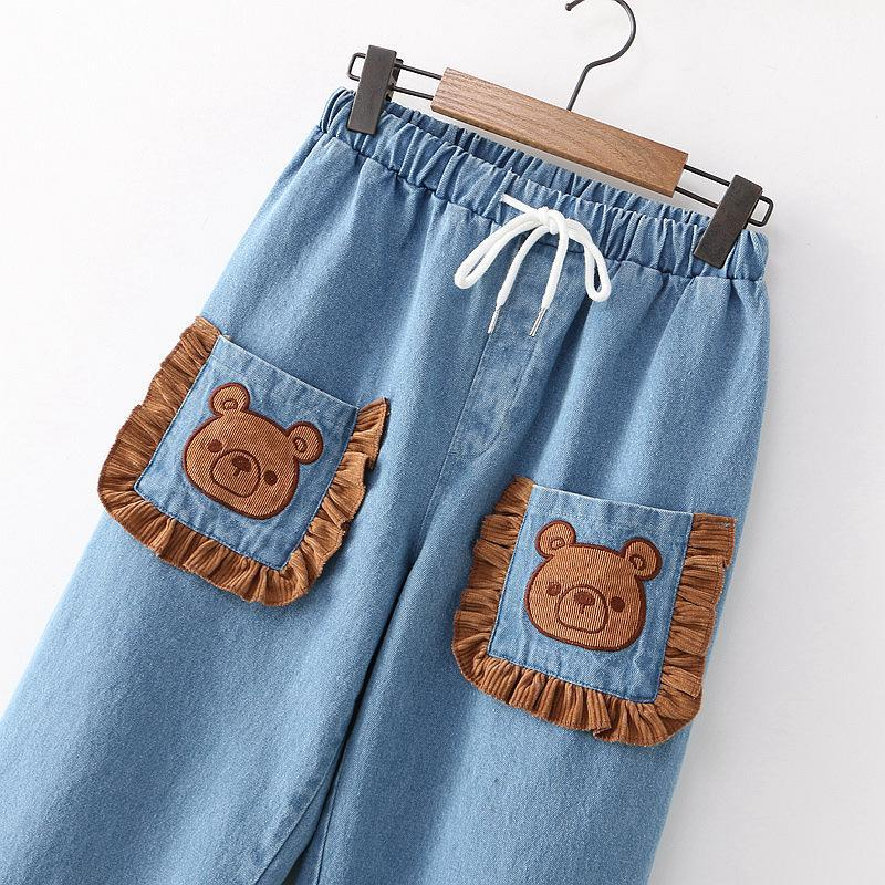 Modakawa Pants Blue / One Size Bear Pocket Drawstring Denim Jeans