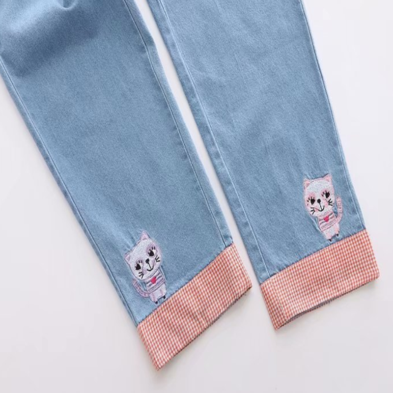 Modakawa Pants Blue / One Size Denim Kawaii Cat Embroidery Jeans