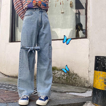 Modakawa Pants Blue / S Bow Lace Straight Wide Leg Denim Jeans