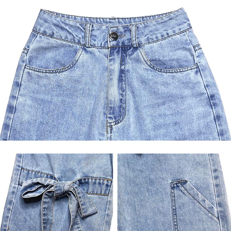 Modakawa Pants Bow Lace Straight Wide Leg Denim Jeans