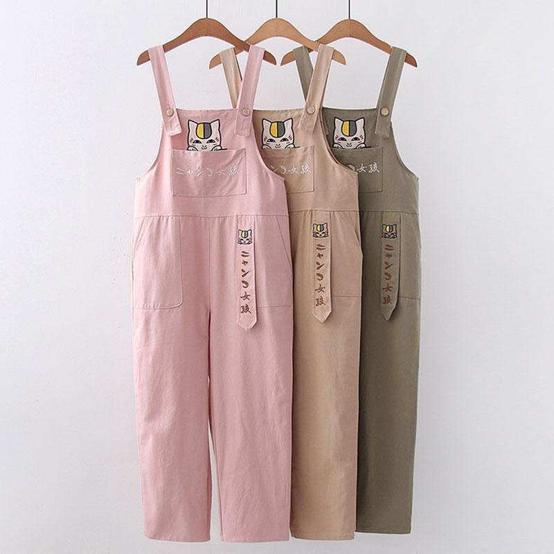 Modakawa Pants Cartoon Cat Embroidery Pocket Straight Pants Overalls