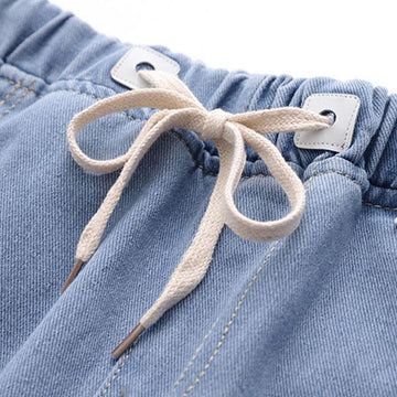 Modakawa Pants Cat Embroidery Claw Elastic Waist Drawstring Denim Pants