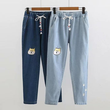 Modakawa Pants Cat Embroidery Denim Drawstring Elastic Waist Pants