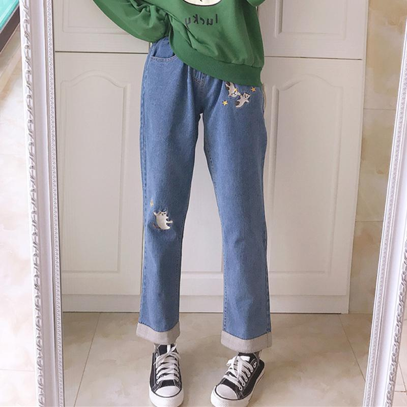 Modakawa Pants Cat Star Embroidery Drawstring Denim Jeans