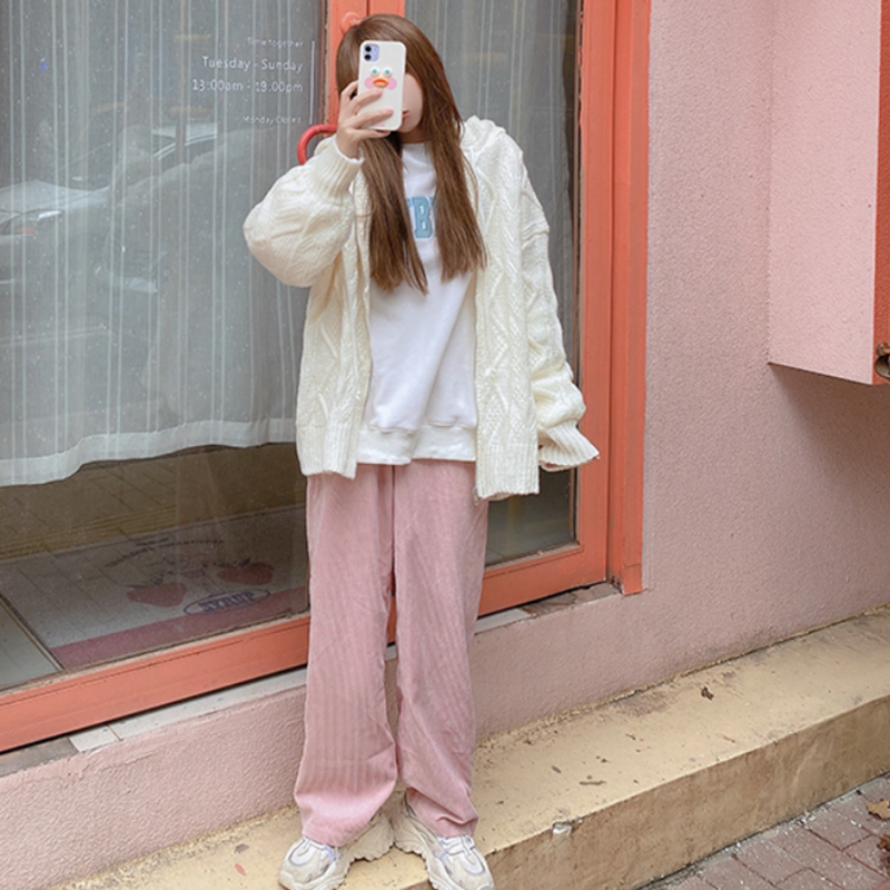 Modakawa Pants Corduroy Straight High Waist Loose Pants