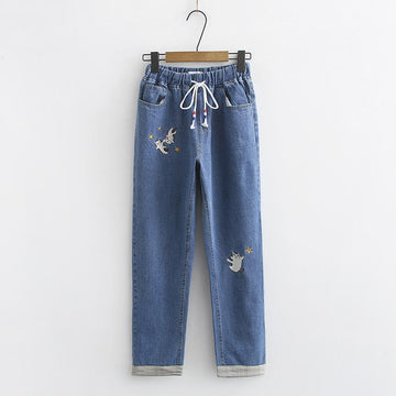 Modakawa Pants Dark Blue / M Cat Star Embroidery Drawstring Denim Jeans
