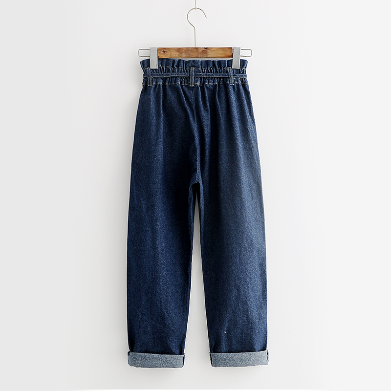 Modakawa Pants Dark Blue / M Denim Pull-On Wide Leg Jeans