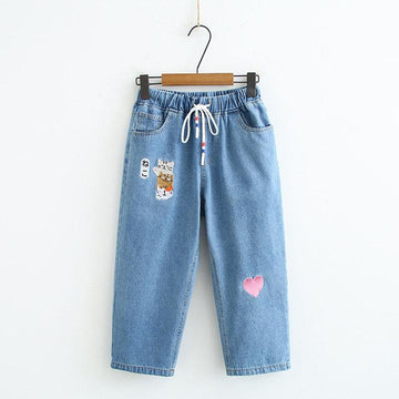 Modakawa Pants Dark Blue / M Japanese Cat Love Heart Embroidery Drawstring Denim Jeans