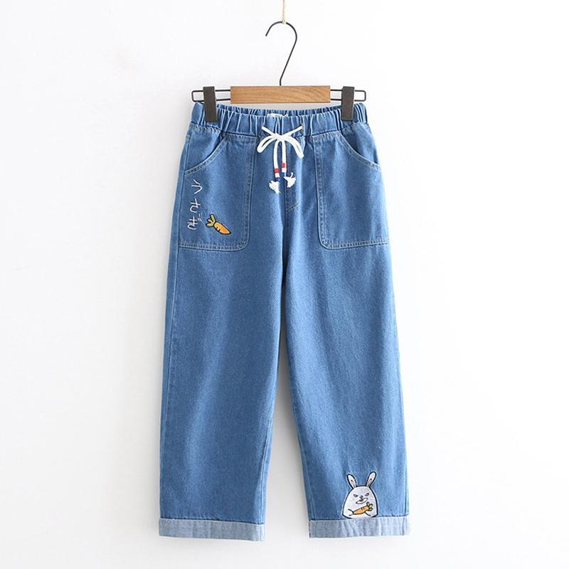 Modakawa Pants Dark Blue / S Denim Carrot Rabbit Embroidery Jeans