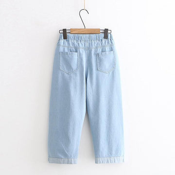 Modakawa Pants Denim Carrot Rabbit Embroidery Jeans
