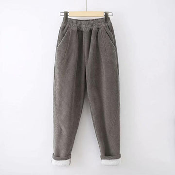 Modakawa Pants Gray / S Pure Color Elastic Waist Corduroy Pants
