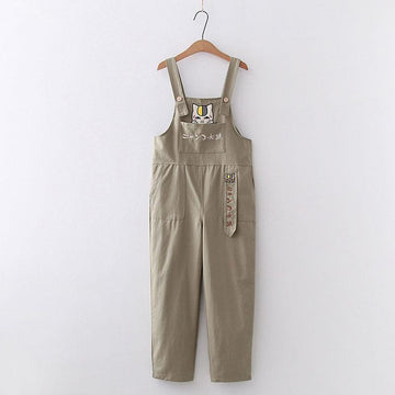Modakawa Pants Green / One Size Cartoon Cat Embroidery Pocket Straight Pants Overalls