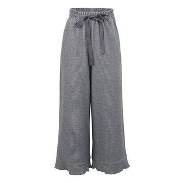Modakawa Pants Grey / S High-Rise Wide Leg Straight Pants
