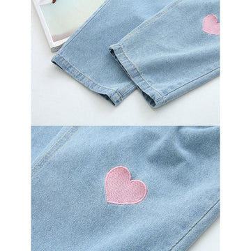 Modakawa Pants Japanese Cat Love Heart Embroidery Drawstring Denim Jeans