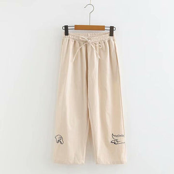 Modakawa Pants Khaki / M High Waist Lace Up Dinosaur Embroidery Straight Pants