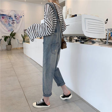 Modakawa Pants Korean Pocket Faded Denim Overalls