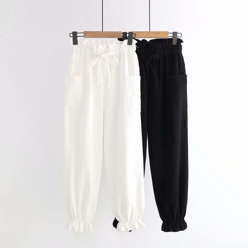 Modakawa Pants Lace Up Elastic Waist Lantern Pants