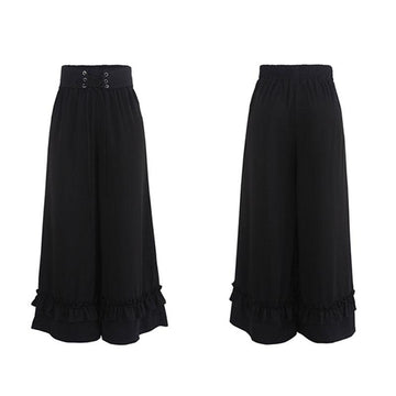 Modakawa Pants Lace Up Ruffle Wide Leg High Waist Pants