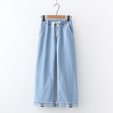 Modakawa Pants Light Blue / M Bunny Embroidery Letter Drawstring Jeans