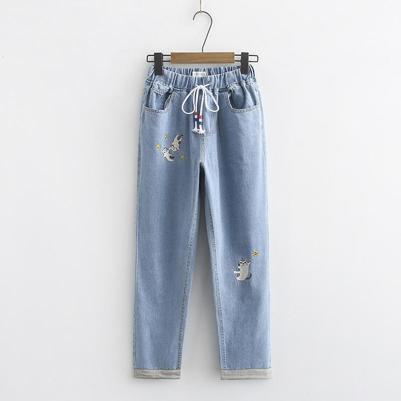Modakawa Pants Light Blue / M Cat Star Embroidery Drawstring Denim Jeans