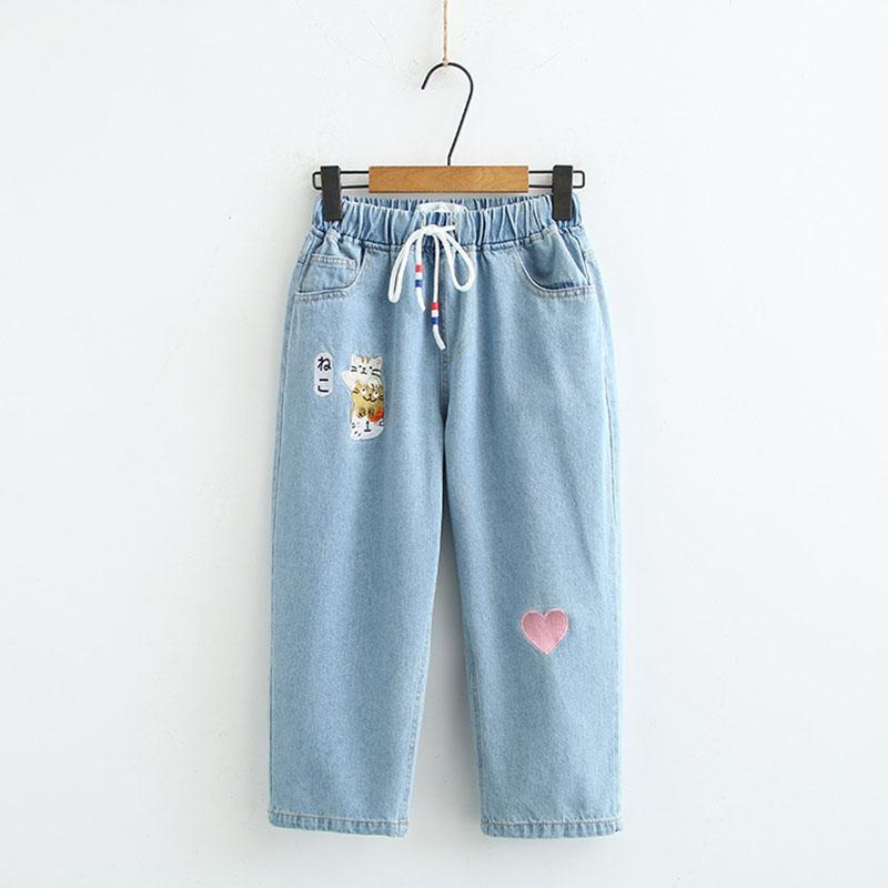 Modakawa Pants Light Blue / M Japanese Cat Love Heart Embroidery Drawstring Denim Jeans