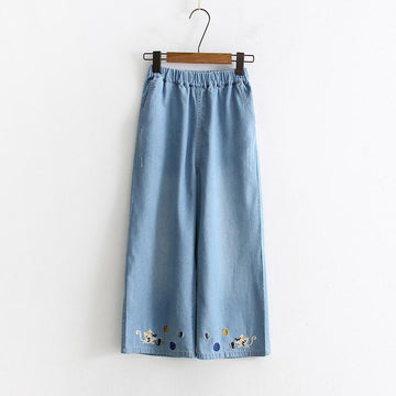 Modakawa Pants Light Blue / S Cartoon Cat Embroidery Wide Leg Straight Pants