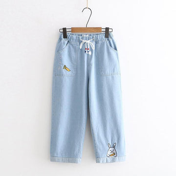 Modakawa Pants Light Blue / S Denim Carrot Rabbit Embroidery Jeans