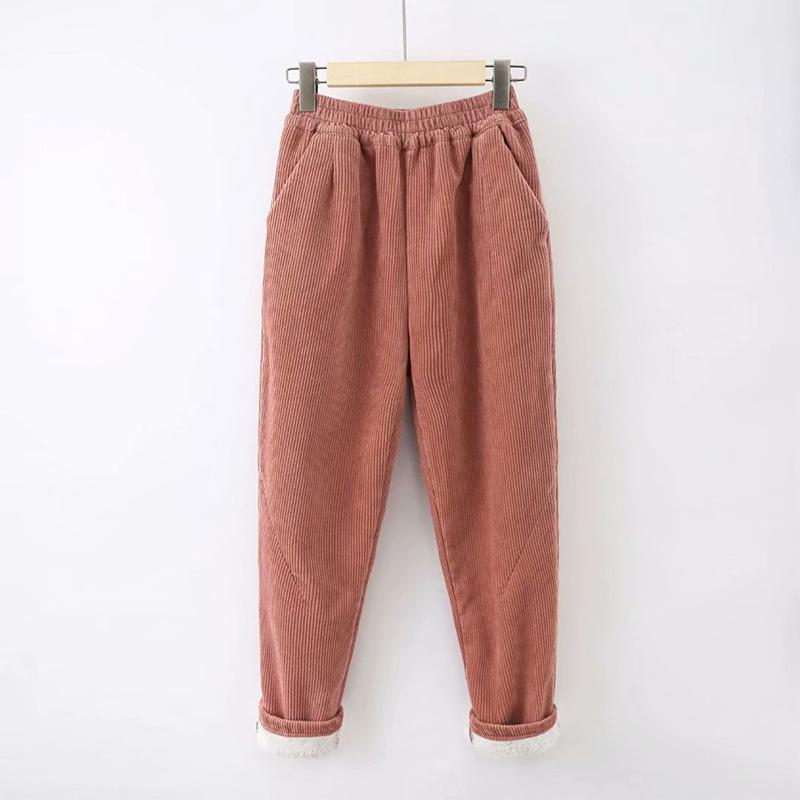 Modakawa Pants Orange / S Pure Color Elastic Waist Corduroy Pants