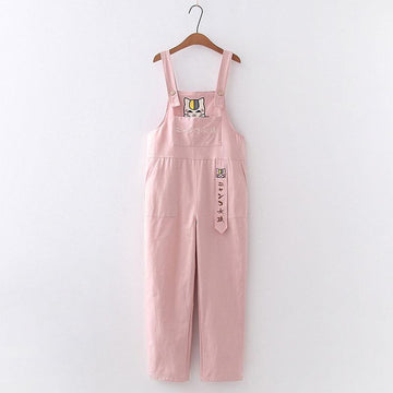 Modakawa Pants Pink / One Size Cartoon Cat Embroidery Pocket Straight Pants Overalls