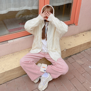 Modakawa Pants Pink / XS Corduroy Straight High Waist Loose Pants