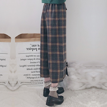 Modakawa Pants Plaid Bow-Knot Pull-On Pants