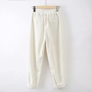 Modakawa Pants Pure Color Elastic Waist Corduroy Pants