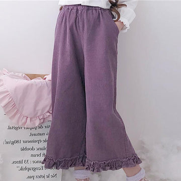 Modakawa Pants Purple Flounced Wide Leg Straight Pants