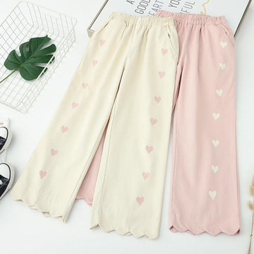 Modakawa Pants Ruffle Love Heart Print Straight Leg Pants