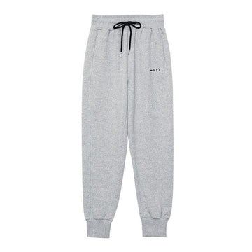 Modakawa Pants Smile Face Letter Embroidery Drawstring Sports Pants