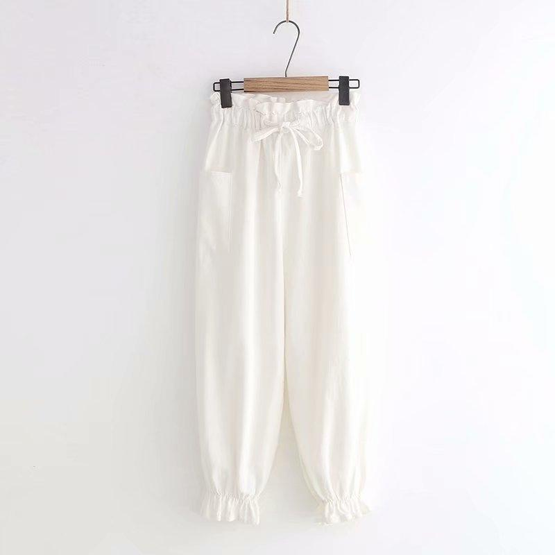 Modakawa Pants White / M Lace Up Elastic Waist Lantern Pants