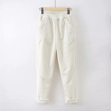 Modakawa Pants White / S Pure Color Elastic Waist Corduroy Pants
