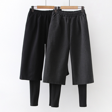 Modakawa Pants Wide Leg Fake Two-Piece Elastic Waist Pants