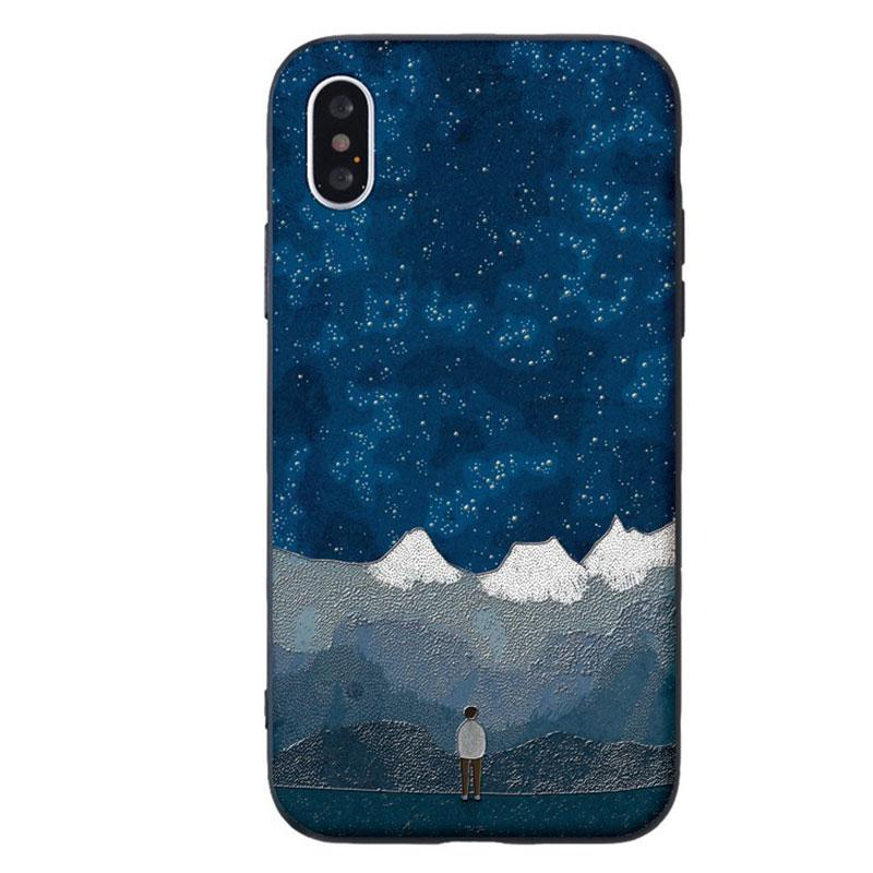 Modakawa Phone Case A / iPhone 5/5s/SE1 Couple Starry Sky Mountain Moon Print Silicone Phone Case