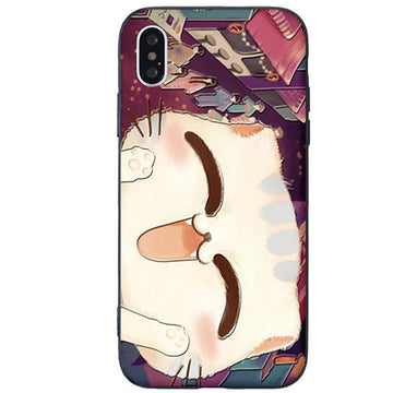 Modakawa Phone Case A / iPhone 6/6s Cartoon Cat Smiley Print Silicone Phone Case