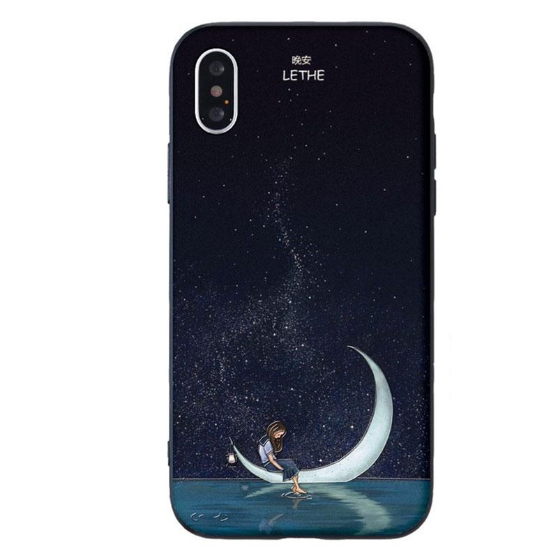 Modakawa Phone Case B / iPhone 5/5s/SE1 Couple Starry Sky Mountain Moon Print Silicone Phone Case