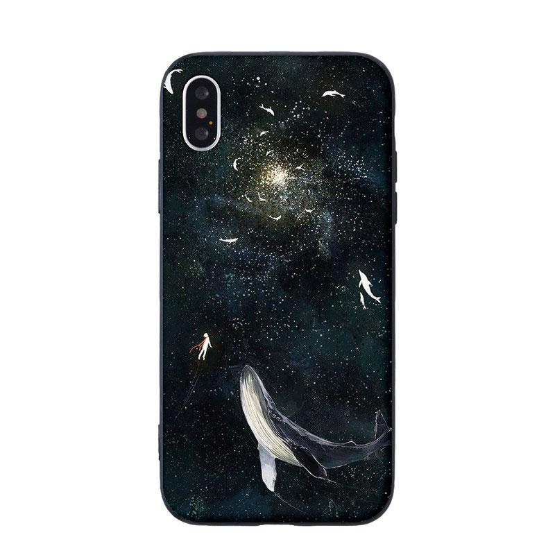 Modakawa Phone Case Black / iPhone5/5s/SE Cartoon Animal Starry sky Whale Print Silicone Phone Case
