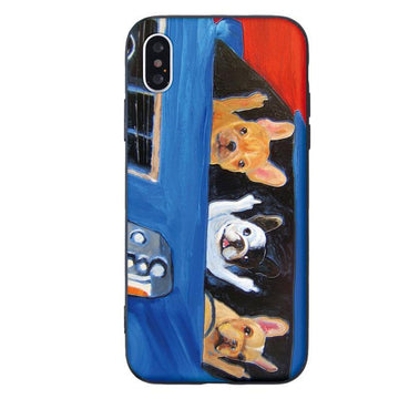 Modakawa Phone Case Blue / iPhone 5/5s/SE1 Cartoon Dog Print Silicone Phone Case