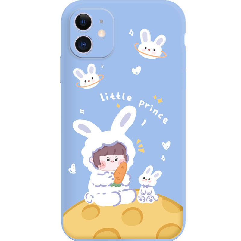 Modakawa Phone Case Blue / iPhone 6/6s Cartoon Bunny Girl Print Silicone Phone Case