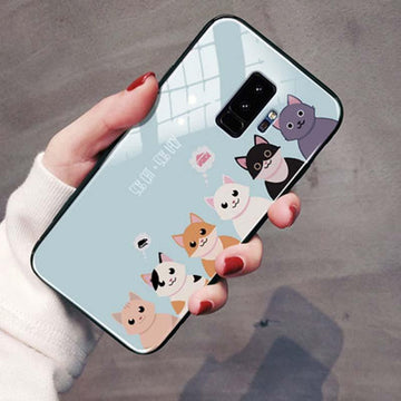 Modakawa Phone Case Blue / Samsung S9 Cartoon Print Phone Case Cat Claw Samsung