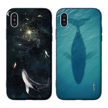 Modakawa Phone Case Cartoon Animal Starry sky Whale Print Silicone Phone Case