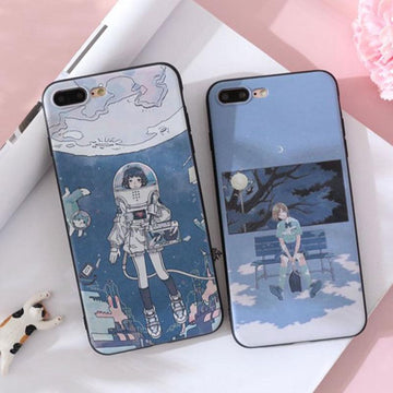Modakawa Phone Case Cartoon Anime Girl Print Silicone Phone Case