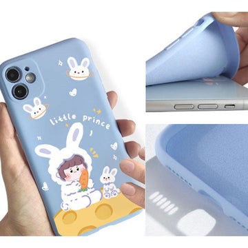 Modakawa Phone Case Cartoon Bunny Girl Print Silicone Phone Case