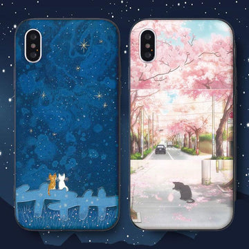 Modakawa Phone Case Cartoon Cat Sakura Print Silicone Phone Case